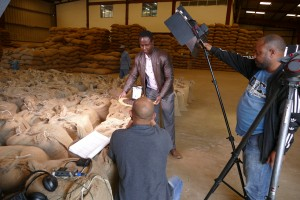 Filming our Manager Samson im Kaffeelager in Addis Abeba
