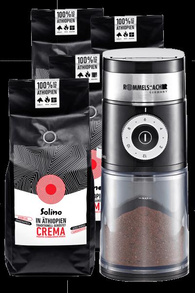 Abo: Solino Cafe Crema- ganze Bohnen + Kaffeemühle (Packshot)