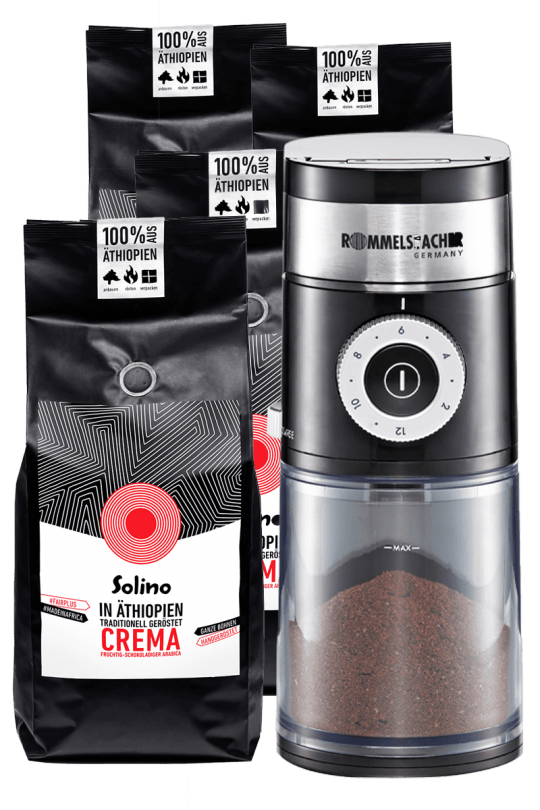 Subscription: Solino Cafe Crema- whole beans + coffee grinder (Packshot)