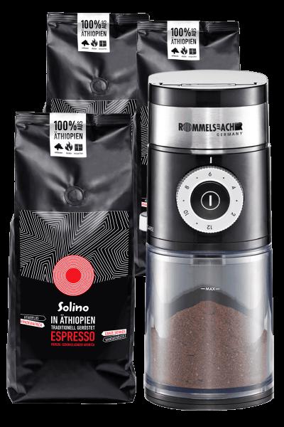 Abo: Solino Espresso- ganze Bohnen + Kaffeemühle (Packshot)