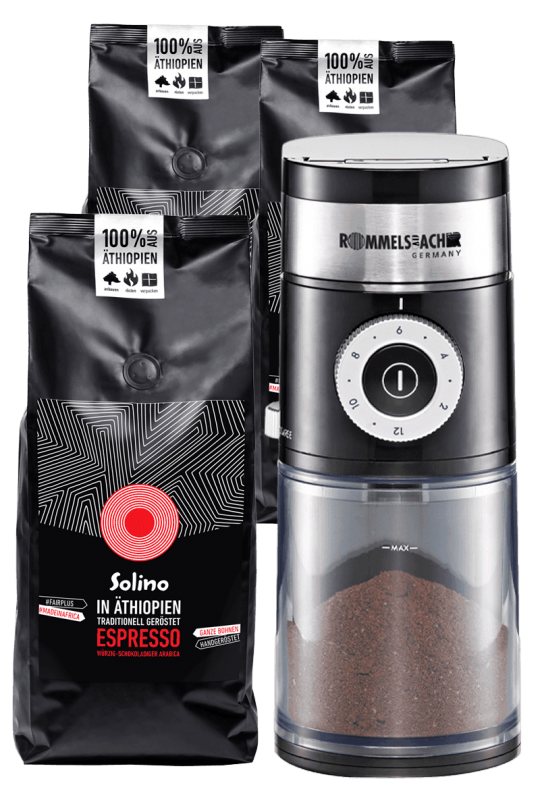 Subscription: Solino Espresso- whole beans + coffee grinder (Packshot)